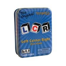 LCR® Left Center Right™ Dice Game – Blue Tin