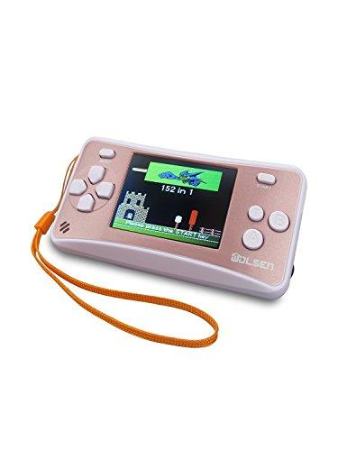 WOLSEN 2.5″ Color Portable Handheld Game Console w/152 Games & speaker (Rose Gold)