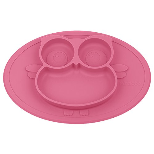 Kirecoo Babies Highchair Feeding Tray Round Silicone Suction Owl Placemat  For Children, Kids, Toddlers,Kitchen Dining Table With Built In Plate And  Bowl ...