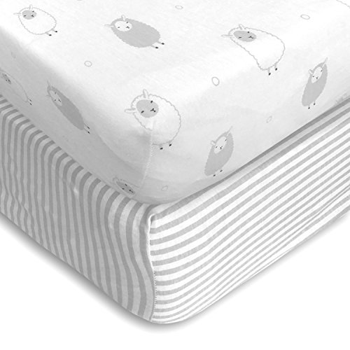 Cuddly Cubs Premium Jersey Crib Sheets, Extra Soft for a Sound Sleep and Gentle on Baby Skin! Fitted with Elastic All Around, NO Struggle to Get on the Mattress. Sheep & Stripes Pattern in Light Gray