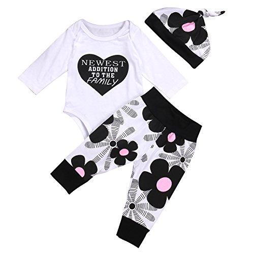 98b514034bd92 Ma&Baby Newborn Kids Baby Boy Girl Cotton Tops Romper Pants Hat 3Pcs Outfits  Set Clothes (0-3 Months)