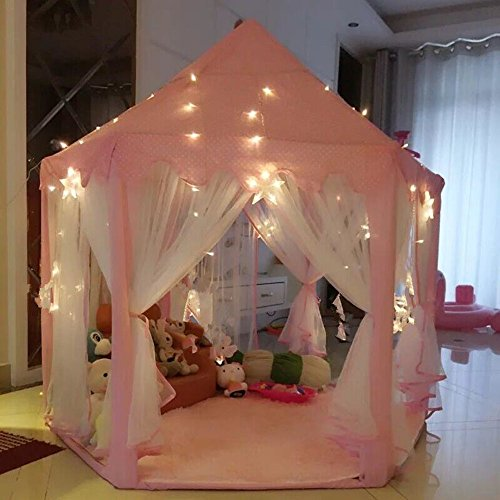 AuTop Large Indoor and Outdoor Kids Play House Pink Hexagon Princess Castle Kids Play Tent Child Play Tent : pink play tent - memphite.com