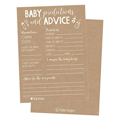 50 Rustic Advice And Prediction Cards For Baby Shower Game New Mom