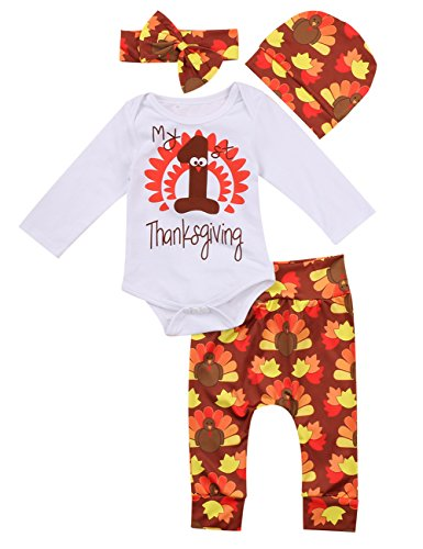 0a0f152226a6 Thanksgiving Outfit Newborn Baby Boy Girl Letter Print Romper Turkey Print Pant  Hat Headband 4pcs Clothes Set -Miward (0-3 Months, White)