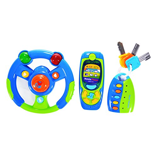 FunsLane Electronic Steering Wheel, Cell Phone and Key Toy Set for Baby, Driver Toy with Lights, Mirror and Music for Kids Pretend Play Electronic Learning and Education Toys, Pack of 3