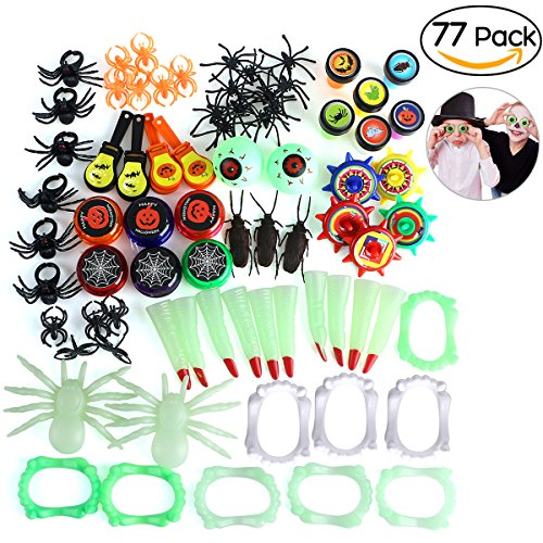 Halloween Novelties Toys Assortment for Kids, Perfect for Halloween Treats and Prizes, 15 Styles with 77 PCS