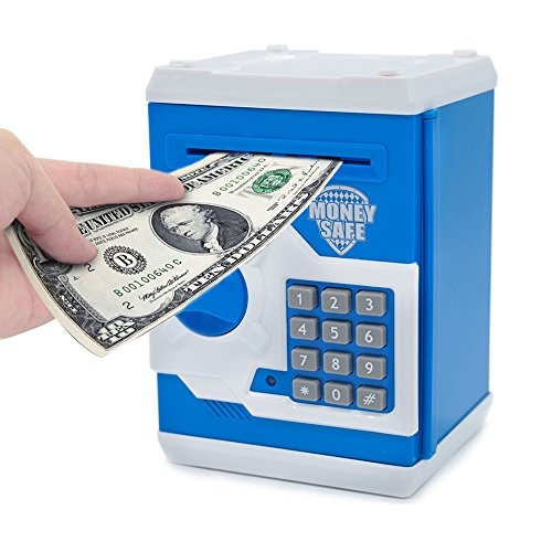 APUPPY Cartoon Password Piggy Bank Cash Coin CanElectronic Money BankBirthday Gifts Toy For Kids Blue