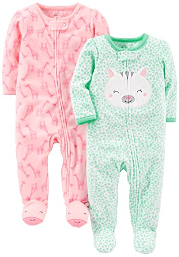 4774a24460e6 Simple Joys by Carter s Baby Girls  2-Pack Fleece Footed Sleep and ...