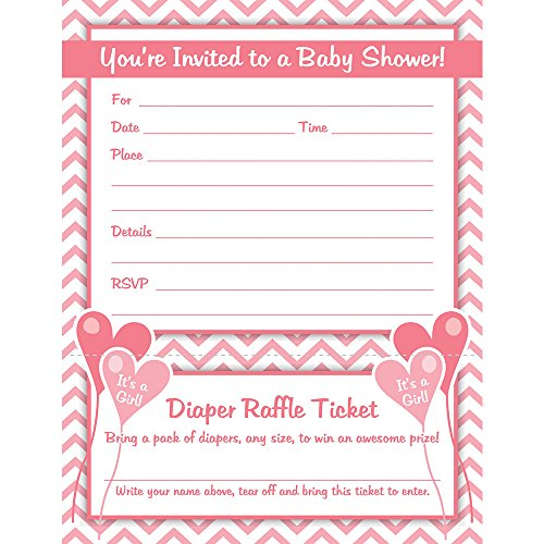 girl baby shower invitations with diaper raffle ticket set of 25 with envelopes