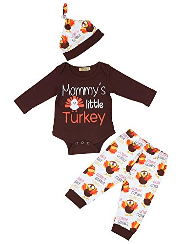 30bab84c0 3Pcs/Outfit Set Baby Boy Girl Mommys Little Turkey Thanksgiving Rompers  Clothes Set 3-6 Months