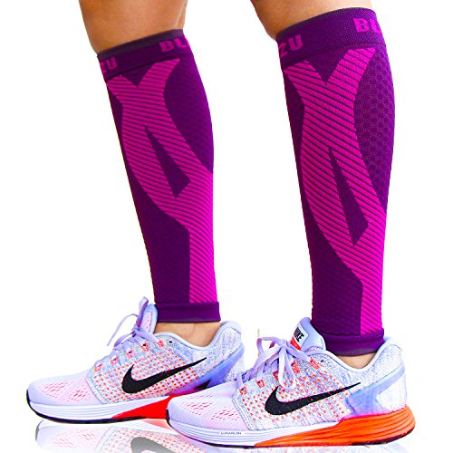 2f877fe009 Blitzu Calf Compression Sleeve Socks One Pair Leg Performance Support for  Shin Splint & Calf Pain Relief. Men Women Runners Guards Sleeves for Running .