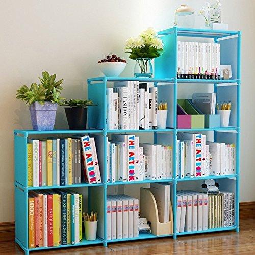 Adjustable Korean Style Home Furniture Book Storage Shelf Kidsu0027 4 Tier 9  Shelves (Blue),Freestanding Sturdy Construction