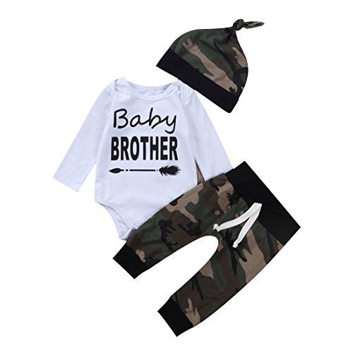da184b88e898b 3PCS Newborn Baby Boys Cute Little Brother Romper+Camouflage Pants+Hat  Outfits Set (0-6 Months, Camo)