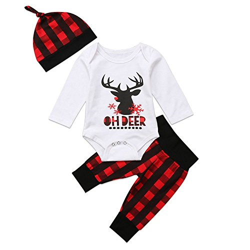 4f94296a9 Baby Boy Girl Christmas Deer Romper+Plaid Long Pants+Hat Outfits Clothes Set  (0-6 Months)
