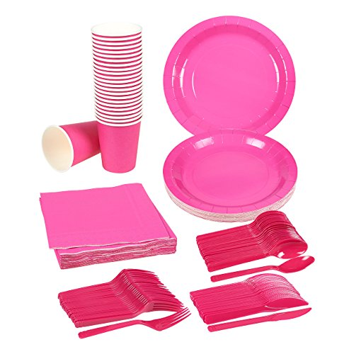 Disposable Dinnerware Set \u2013 Serves 24 \u2013 Dark Pink Party Supplies \u2013 Includes Plastic Knives Spoons Forks Paper Plates Napkins Cups Neon Pink  sc 1 st  FrumCare.com & Disposable Dinnerware Set \u2013 Serves 24 \u2013 Dark Pink Party Supplies ...
