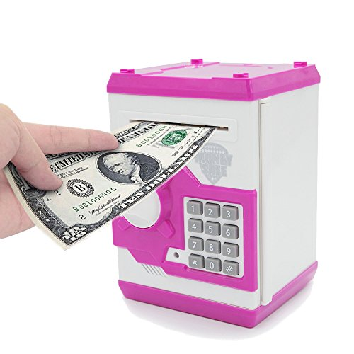 APUPPY Cartoon Password Piggy Bank Cash Coin CanElectronic Money BankBirthday Gifts Toy For Kids Pink