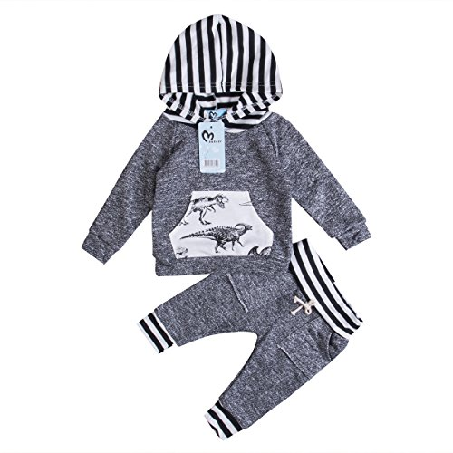 82b4633e0 Toddler Infant Baby Boys Dinosaur Long Sleeve Hoodie Tops Sweatsuit Pants  Outfit Set (12-18 Months)