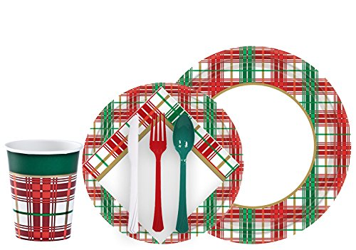 Christmas Paper Plates And Napkins.Tiger Chef Christmas Plaid Dinnerware Party Supplies Set For