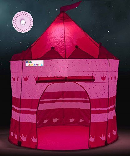 Pretty Princess Castle Play Tent for Girls u2013 Includes LED L& u0026 Glow in the Dark Stars u2013 Multipurpose Indoor/Outdoor Kids Tent and Lit Playhouse u2013 CPSIA ... & Pretty Princess Castle Play Tent for Girls u2013 Includes LED Lamp ...