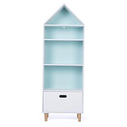 LUCKUP Kids Furniture Children Dollhouse Cottage Wood Tall Sturdy And  Adorable Hand Crafted Shelf Bookcase With Drawer, Two Color Choice(Sky Blue  Or Baby ...