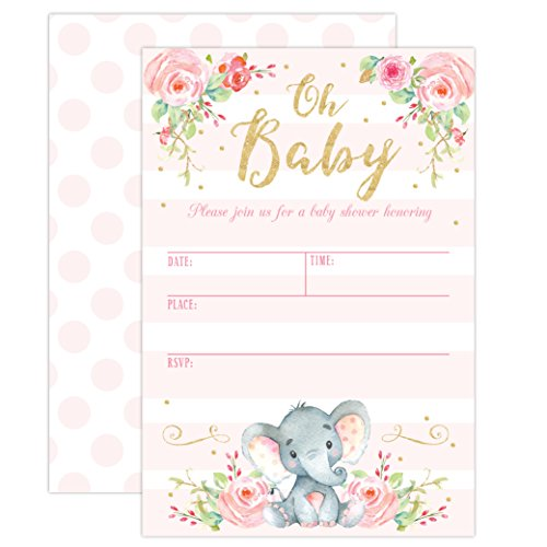 Girl elephant baby shower invitation pink elephant baby shower girl elephant baby shower invitation pink elephant baby shower jungle baby shower invite 20 fill in invitations and envelopes filmwisefo