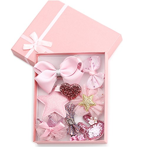 938a6a100 HaloVa Hair Accessories Baby Little Girls Hair Clips Bows Barrettes  Hairpins Set,Pink,small