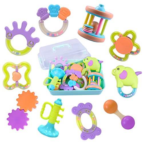 9b72524e675 10 Baby Rattles, Infants Teething Toys, Babies Teether, Ball Shaker, Grab,  Spin Rattle, Musical Play Gift Set for 0, 1, 2, 3, 4, 5, 6, 7, 8, 9, 10,  12, 18 ...