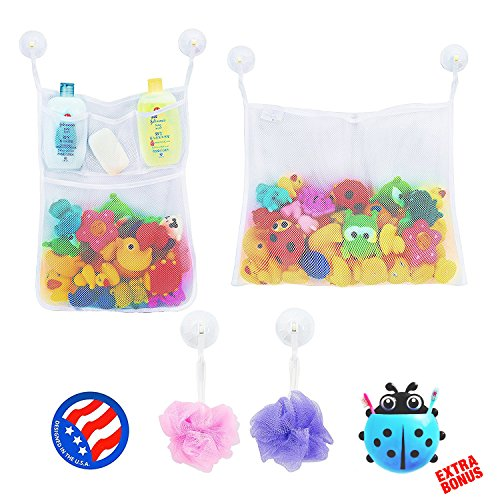 2 X Mesh Bath Toy Organizer 6 Ultra Strong Hooks Cute Blue Ladybug Kids Toothbrush Holder Perfect Storage Net For Baby Toys This