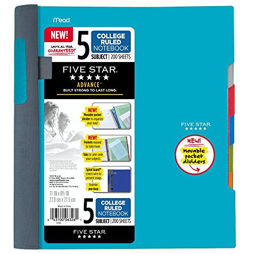 Five Star Advance Spiral Notebook, 5 Subject, College Ruled