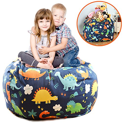 extra large stuffed animals bean bag chair cover 100 cotton canvas kids toy storage zipper bags. Black Bedroom Furniture Sets. Home Design Ideas