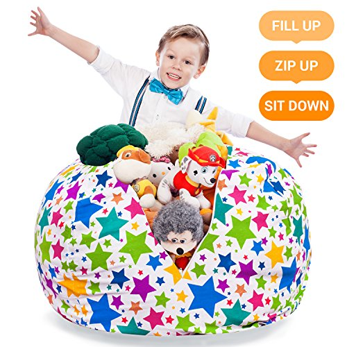 Pleasant Extra Large Stuffed Animal Storage Bean Bag Cover Stuffed Squirreltailoven Fun Painted Chair Ideas Images Squirreltailovenorg