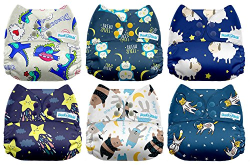 Tie Dye Mama Koala One Size Baby Washable Reusable Pocket Cloth Diapers 6 Pack with 6 One Size Microfiber Inserts