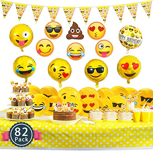 Melonboat Emoji Party Supplies 82 Ct Birthday Decorations Kit Face