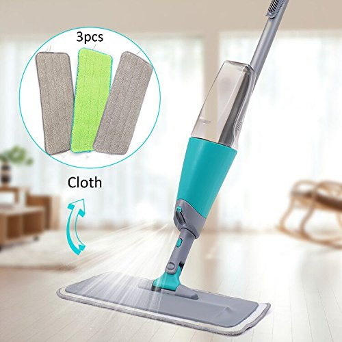 Finnkare Spray Floor Mop Kit with 3 Reusable Microfiber Pads 360 ...