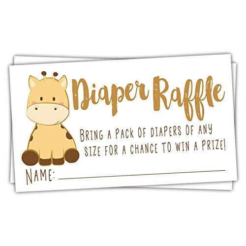 50 Giraffe Diaper Raffle Tickets Gender Neutral Baby Shower Game