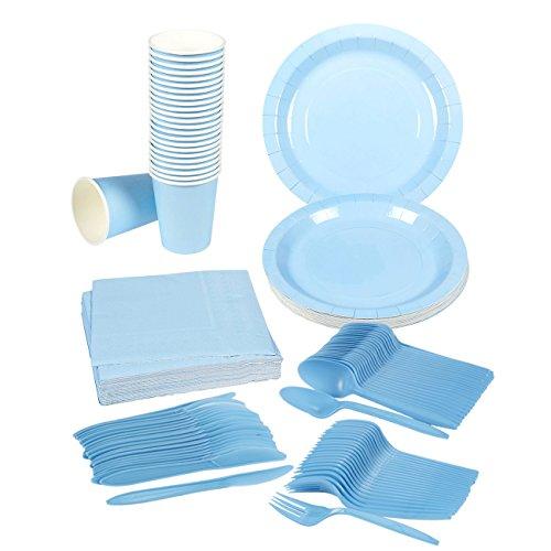 Disposable Dinnerware Set \u2013 Serves 24 \u2013 Party Supplies \u2013 Includes Plastic Knives Spoons Forks Paper Plates Napkins Cups Light Blue  sc 1 st  FrumCare.com & Disposable Dinnerware Set \u2013 Serves 24 \u2013 Party Supplies \u2013 Includes ...