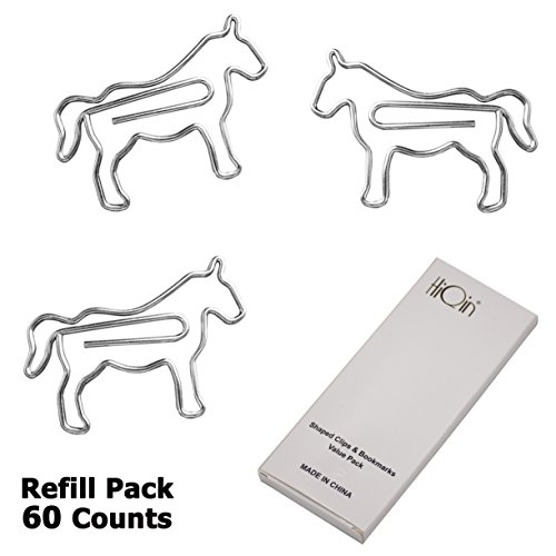 Cute Horse Shape Paper Clips Bookmark Page Marker For Office School Supplies Animal Easter Basket Fun Gifts 60 Refill Pack