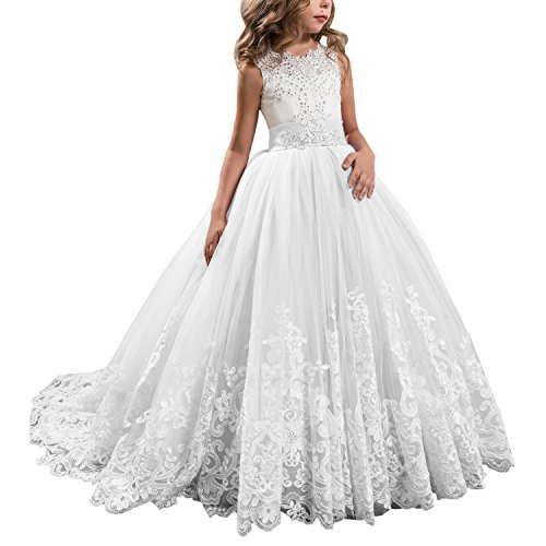 Princess White Long Girls Pageant Dresses Kids Prom Puffy Tulle Ball ...