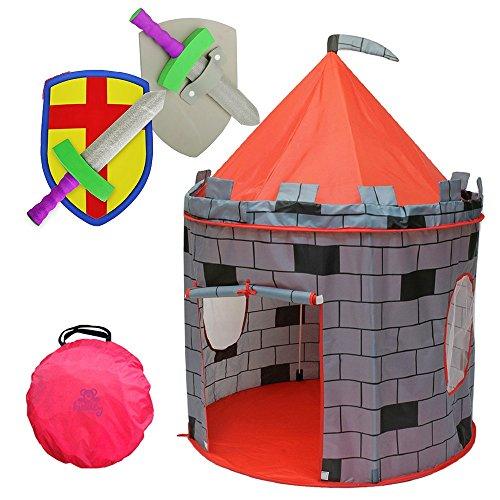 Kiddey Knightu0027s Castle Kids Play Tent  Indoor U0026 Outdoor Childrenu0027s  Playhouse U2014 Durable U0026 Portable With Free Carrying Bag U2013 U201cBONUSu201d Shield And  Sword Set ...