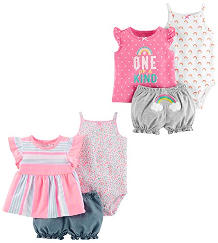 a305b57cf Carter's Baby Girls' 6-Piece Bodysuit Tee and Short Set, Peach Stripe/One  Of a Kind, 18 Months