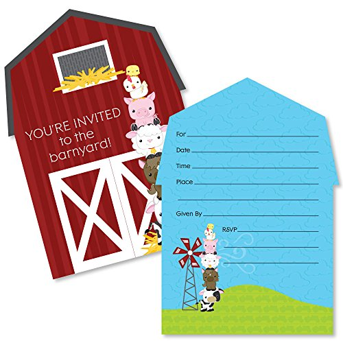 farm animals shaped fill in invitations baby shower or birthday