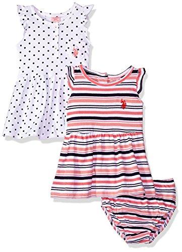 U S Polo Assn Baby Girls Multi Pack Dress Dress Pack Stripes Dots