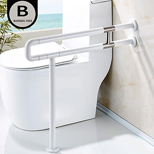 Bathroom Grab Bar Toilet Safety Frame Rail Shower Handicap Bars Medicial  Bathroom Aids Armrest (Stainless Steel Covered With White ABS) , B