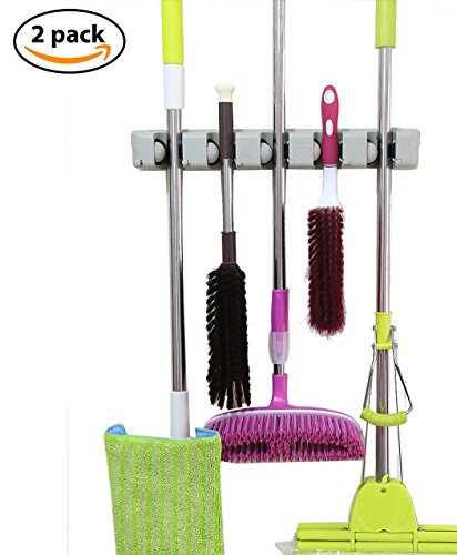 Cinlv 2 Pack Mop And Broom Holder Wall Closet Mounted With 5 Position And 6  Hooks Organizer Rakes Automatic Handle Grips Household Tool And Garage  Storage ...