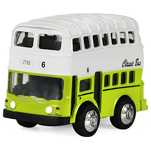 Double Decker Bus Pull Back Play Toy Vehicles, Model Car Kits, Old