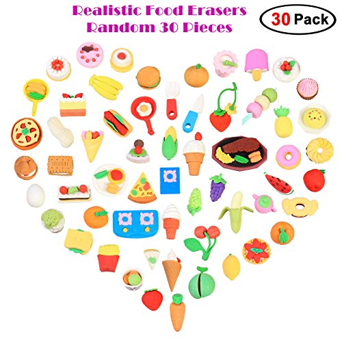 30 pack pencil eraser mini fun realistic japanese style food eraser fun realistic japanese style food eraser novelty toys best bulk puzzle toys for kids birthday party school classroom rewards easter day gifts easter negle Choice Image
