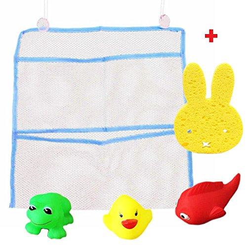 Bath Toy Organizer + 3 Bath Toys + Random Color Sponge For Kids Tub Storage  Toy Holder Baby Yellow Duck Green Frog Red Fish Bathroom Organizer For  Bathtub ...