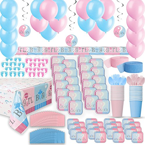 Gender Reveal Party Supplies For 24 Two Size Plates Cups