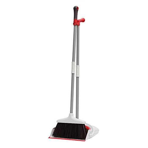 Office and Lobby Floor Dust Pan /& Broom Combo Commercial Long Handle Sweep Set and Lobby Broom,Upright Grips Sweep Set with Broom for Home Kitchen Room Black Broom and Dustpan Set