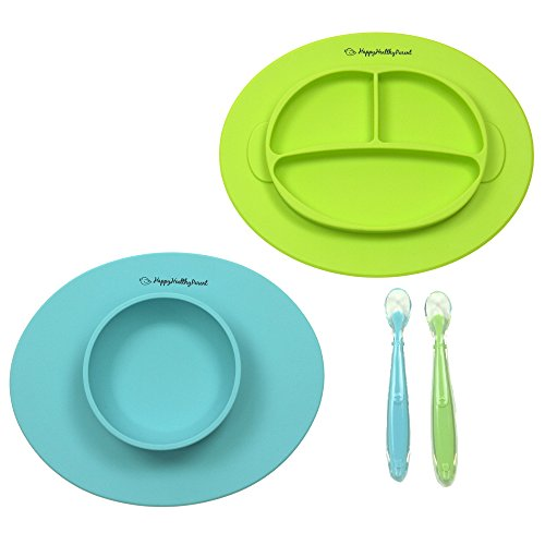 Silicone Bowl and Silicone Plate Easily Wipe Clean! Self Feeding Set Reduces Spills! Spend Less Time Cleaning after Meals with a Baby or Toddler! Set ...  sc 1 st  FrumCare.com & Silicone Bowl and Silicone Plate Easily Wipe Clean! Self Feeding Set ...